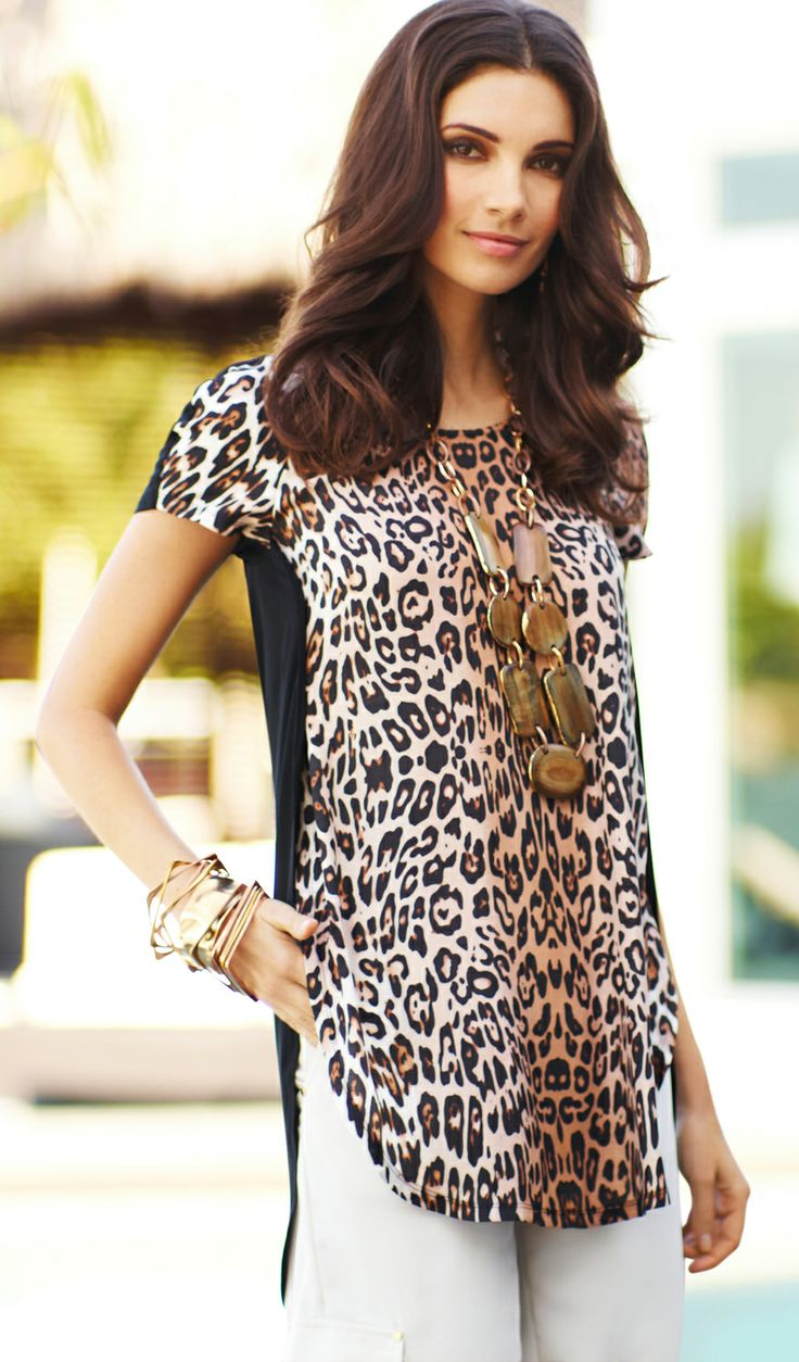 Cat's meow: Keep it to a not-so-dull roar in a new twist on the animal tee. Wear it with piles of statement jewels. #DestinationFabulous #BlackLabel #travel #spring #chicos