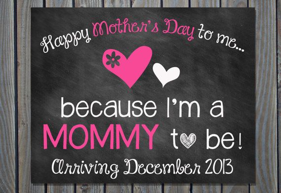 Custom Printable Chalkboard Pregnancy Announcement Pregnancy Reveal // Mother's Day