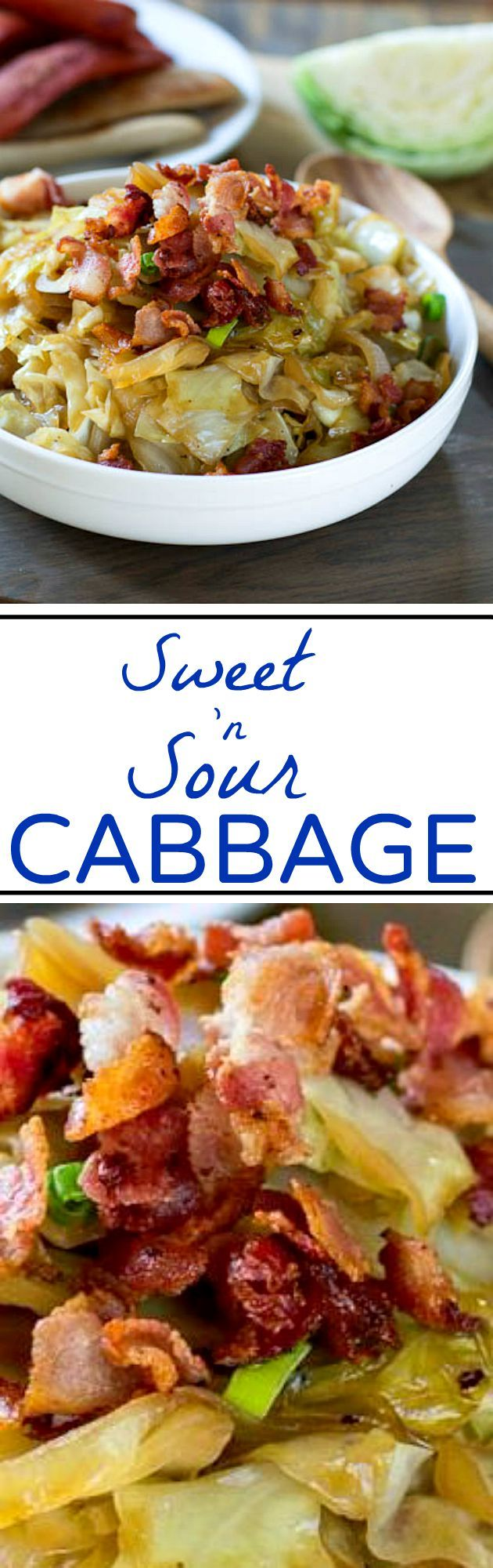 Sweet and Sour Cabbage with Bacon -The perfect combination of sweet, salty, and sour.