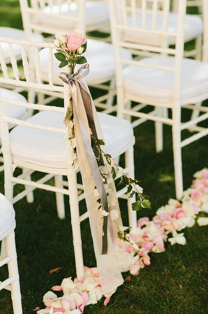 fresh rose petals and wedding ceremony chair decoration by our wonderful wedding planner Judith Jurado of www.millepappillons.com