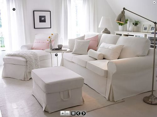 Sofa with chase and ottoman...For the study/office/guest room/front room (we don't really have a name for it yet) I'm thinking of the IKEA Ektorp sleeper sofa and chair in white.  Washable slipcover and affordable price.