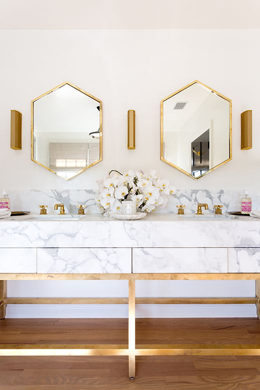 Gorgeous marble and gold duel vanity  D. L. Rhein | Interior Design, Handcrafted Jewelry, Vintage Decor | PASADENA