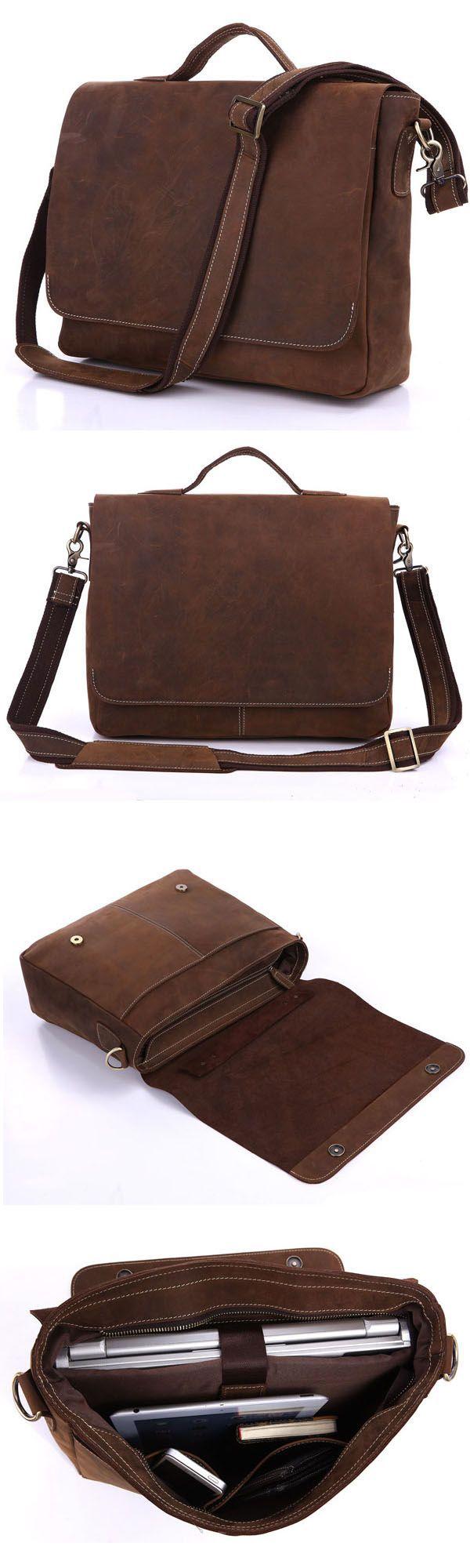 Handmade vintage leather briefcase leather messenger bag 13 15 macbook 13