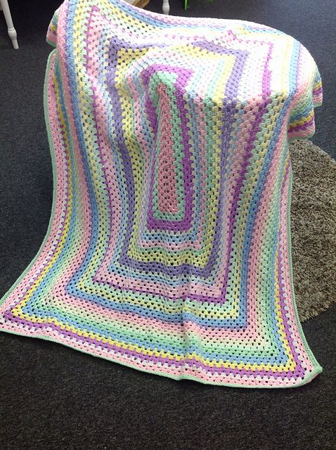 Free Crochet Pattern Rectangle Granny Square Afghan Dancox For