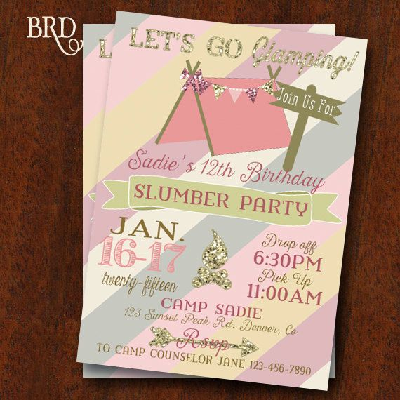 Glamping Party Campout Slumber Party Invitation Gold Blush Camping Party Camp Birthday Party 5x7 Printable Invitation