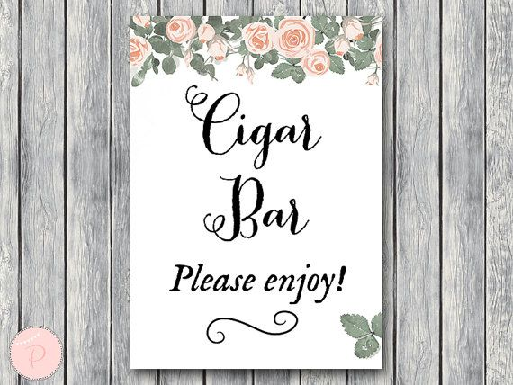 Cigar Bar Sign Instant Download Wedding Cigars Bar by BrideandBows