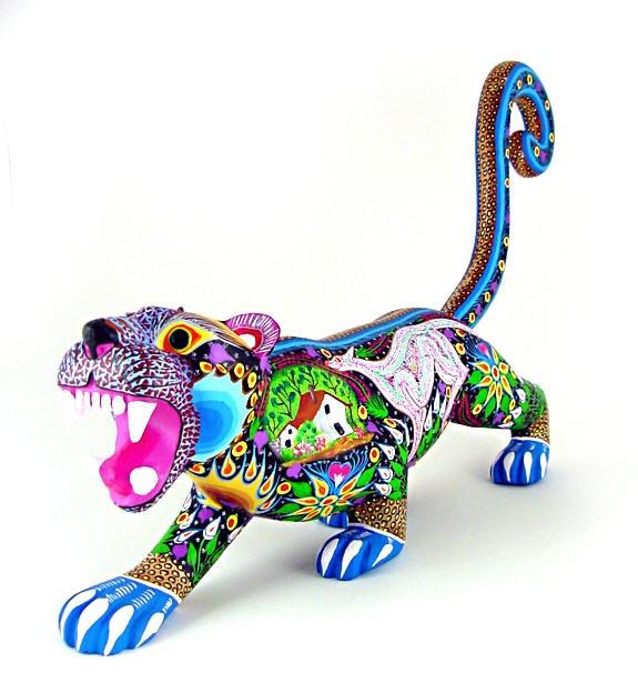 Oaxacan wood carvings aurora sosa tiger http
