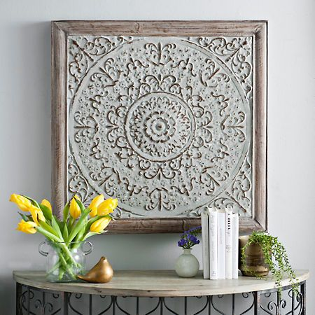 galvanized square medallion metal wall plaque medallion on wall art id=95579