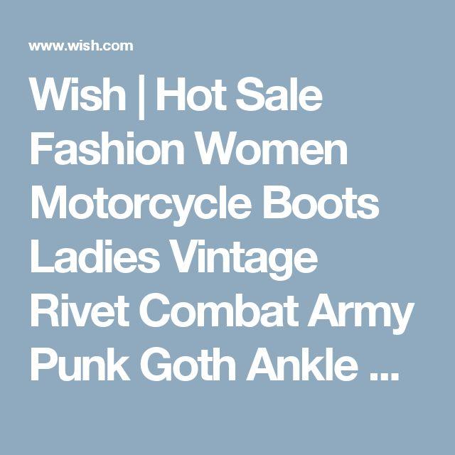 Wish | Hot Sale Fashion Women Motorcycle Boots Ladies Vintage Rivet Combat Army Punk Goth Ankle Shoes Women Biker Leather Autumn/Winter  Boots