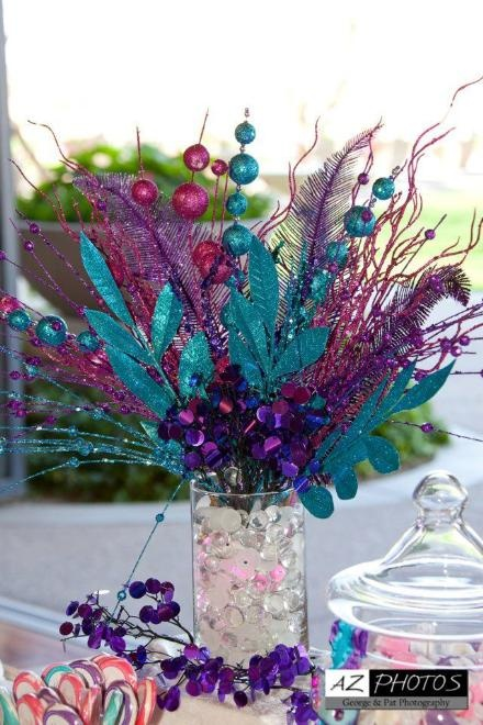 Images about blue and purple centerpieces on