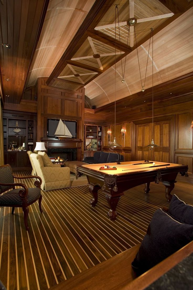 Dream house game room - Potts Residence Boat Builder S Dream The Media Room Featured Eight Different Hardwoods The Barrel Ceiling Is Reminiscent Of A Yacht Hull