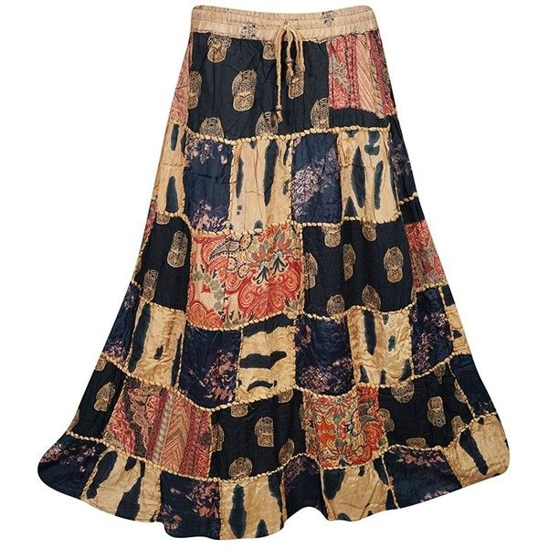 Mogulinterior Womens Patchwork Skirts Artistically Inspired Flowy... ($15) ❤ liked on Polyvore featuring skirts, wide skirt, patchwork skirts, floor length skirt, vintage maxi skirt and beige skirt