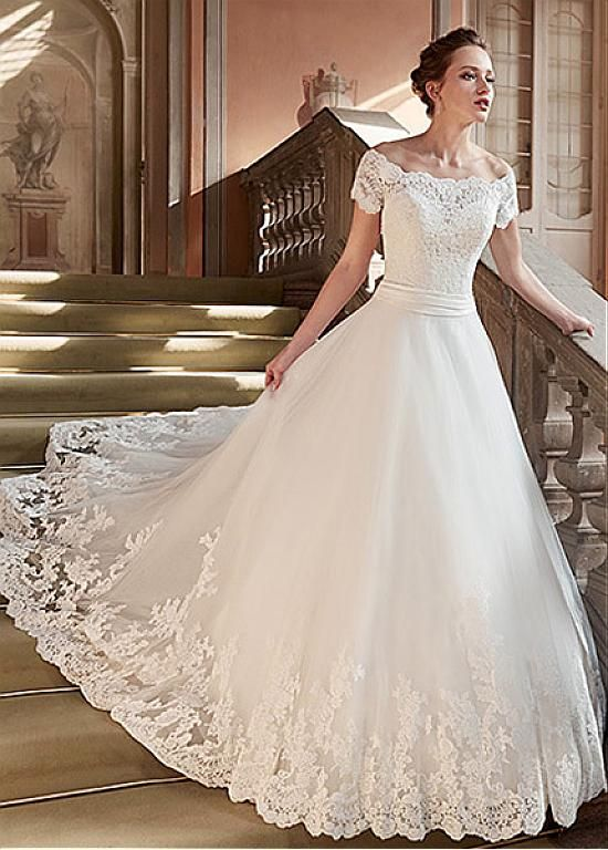 Magbridal Marvelous Tulle & Satin Off-the-shoulder Neckline A-Line Marriage ceremony Clothes With Lace Appliques