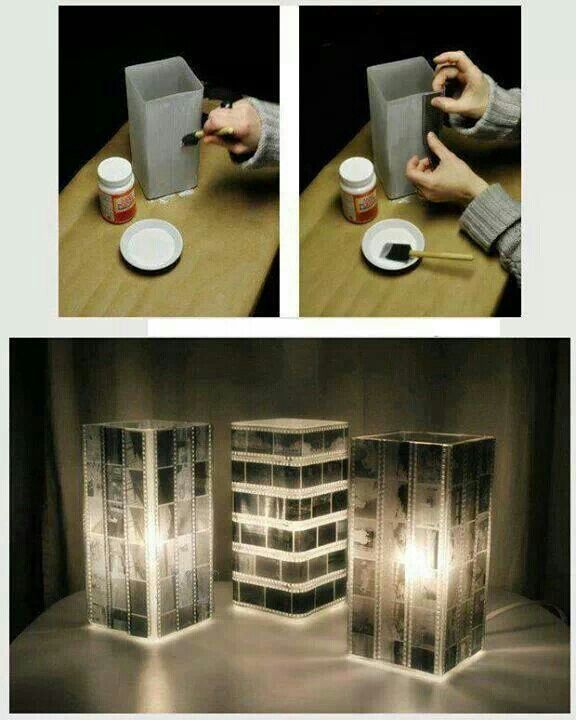 Use photo negatives to make a memory-filled lamp shade 40d4fb4a58cddfc4e0f6e167053389cc