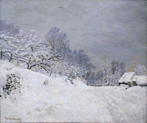 Claude Monet, Environs de Honfleur. Neige (1866-7) on ArtStack #claude-monet #art
