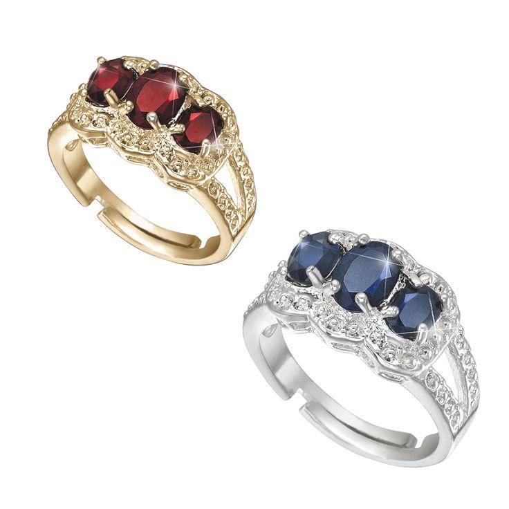 2 Waardevolle ringen  Description: De granaat is één van de negen belangrijke edelstenen in de Thaise Orde van De Negen Edelstenen?. Aan deze prachtige dieprode steen worden op spiritueel gebied veel positieve eigenschappen toegeschreven. Maar behalve de symboliek van deze edelstenen is de schoonheid doorslaggevend. Deze prachtige goudkleurige ring is gezet met echte dieprode (circa 2 krt) granaten. Van alle voorkomende kleuren van een saffier is de koningsblauwe de meest kostbare en…