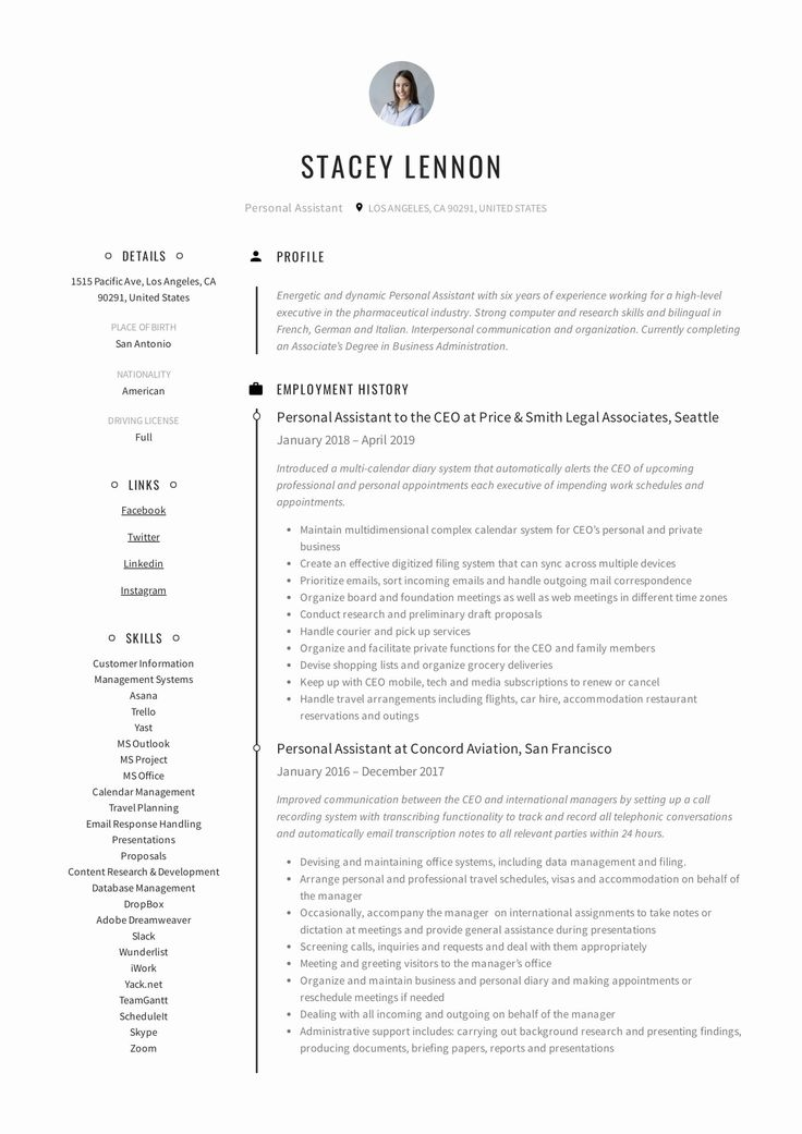 Personal assistant Resume Example New Personal assistant