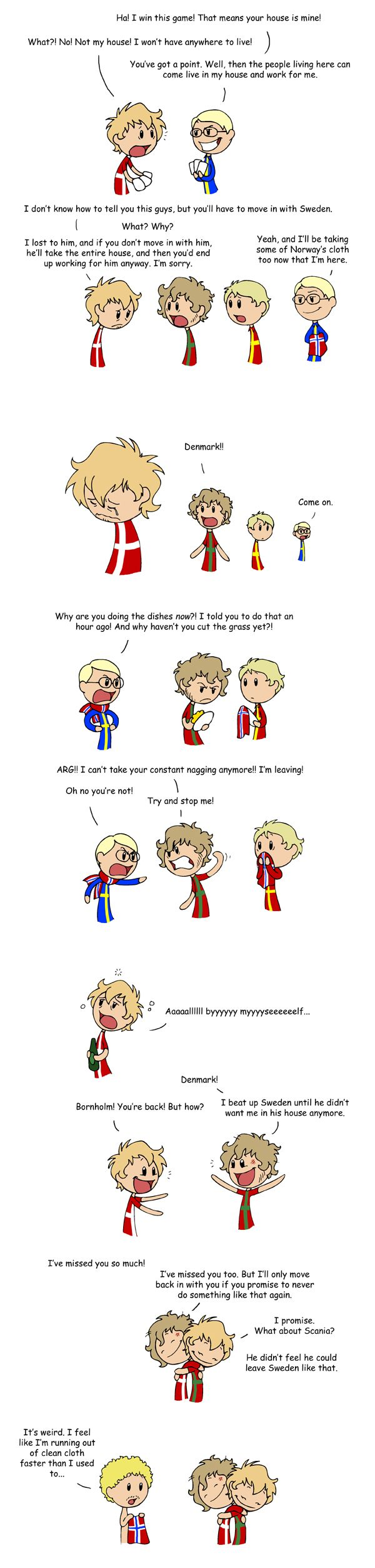 The Love Story of Bornholm. The story behind this comic is that Sweden once defeated Denmark, and the Danish king had to give up most of Denmark and parts of Norway