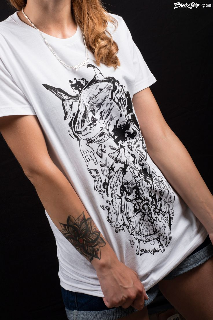 SHARK - With graphics by Giovanni Palumbo aka Gone, it's a marine scene where it is clear the ferocity and brutal force of a shark. Indomitable and often unchallenged predator. To embellish the product, every tshirt, shows the logo on the back, at shoulder height, strictly with stitching in relief.  Photo - https://www.facebook.com/neozen Model - https://www.facebook.com/sofiya.cho    Black Ship © 2015