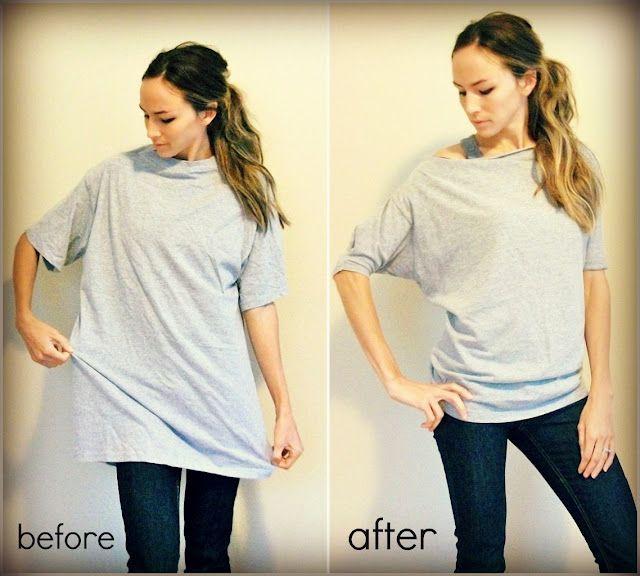 make an oversized shirt into a doleman t shirt