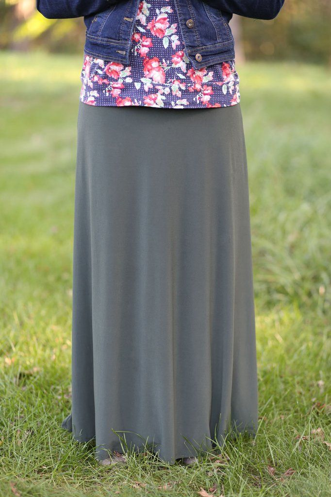 Flowing Maxi Skirt Olive @ The Skirt Outlet