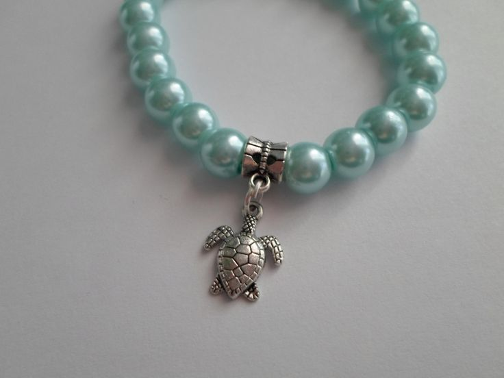 Turtle with blue glass beads bracelet by SiDaStyle on Etsy