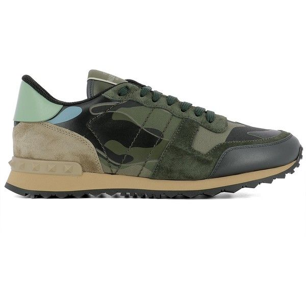Green Leather Sneakers (660 CAD) ❤ liked on Polyvore featuring men's fashion, men's shoes, men's sneakers, green, menshoessneakers, valentino mens shoes, mens leopard print shoes, mens leather shoes, valentino mens sneakers and mens green shoes