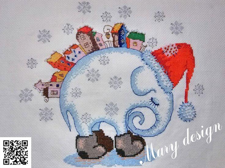 """Вышивка крестом.  Набор Алиса """"Зимний сон"""", правда я решила все бисером не зашивать, а сделать снежинки из backstich и французских узелков"""