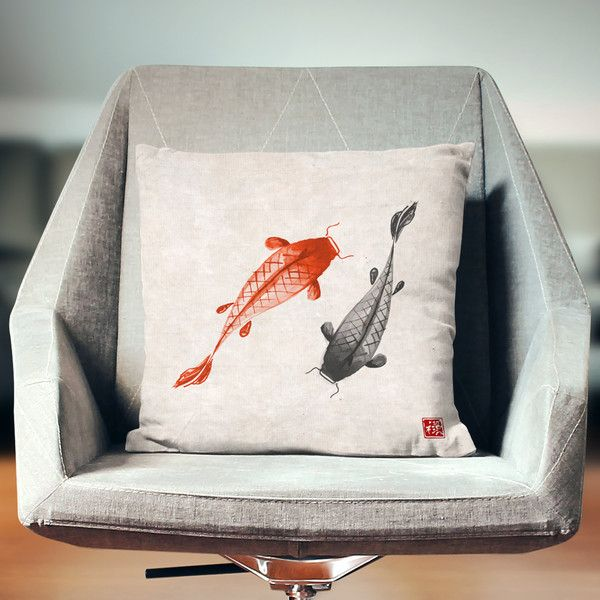 Japan Pillow Oriental Pillow Koi Pillow Koi Carps Asian Pillow Fish... ($26) ❤ liked on Polyvore featuring home, home decor, throw pillows, decorative pillows, home & living, home décor, silver, koi fish home decor, fish throw pillows and fish home decor