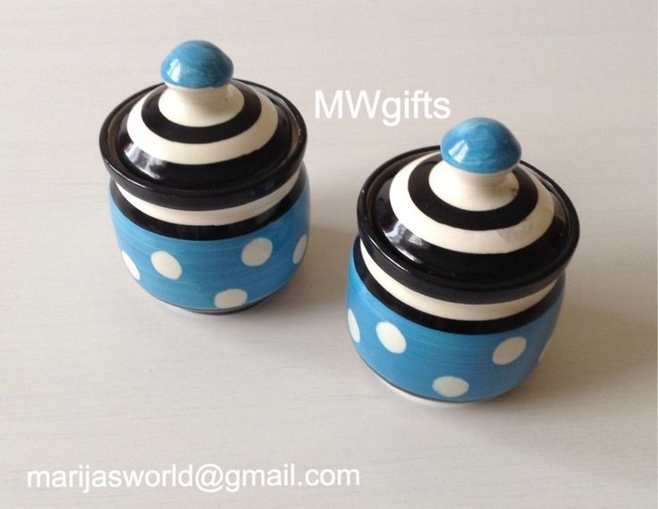 Pair of Small Ceramic Pots - Hand Made and Painted