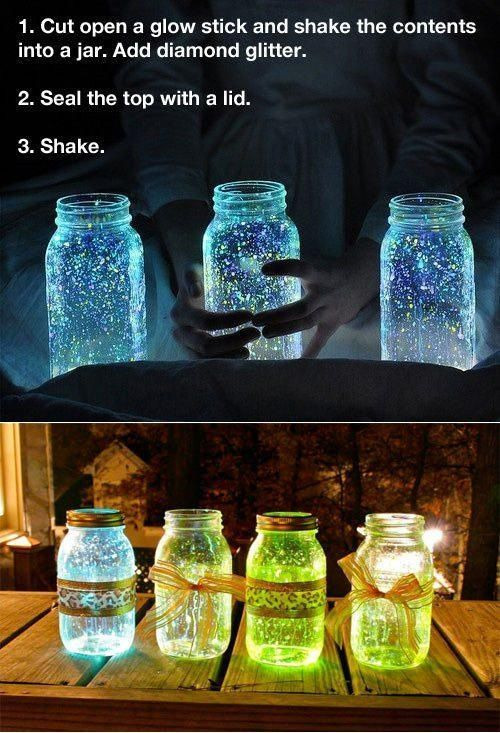 Glow in the dark Mason jar's. I LOVE THESE! Would have to make them just before it got dark so they would glow all evening...