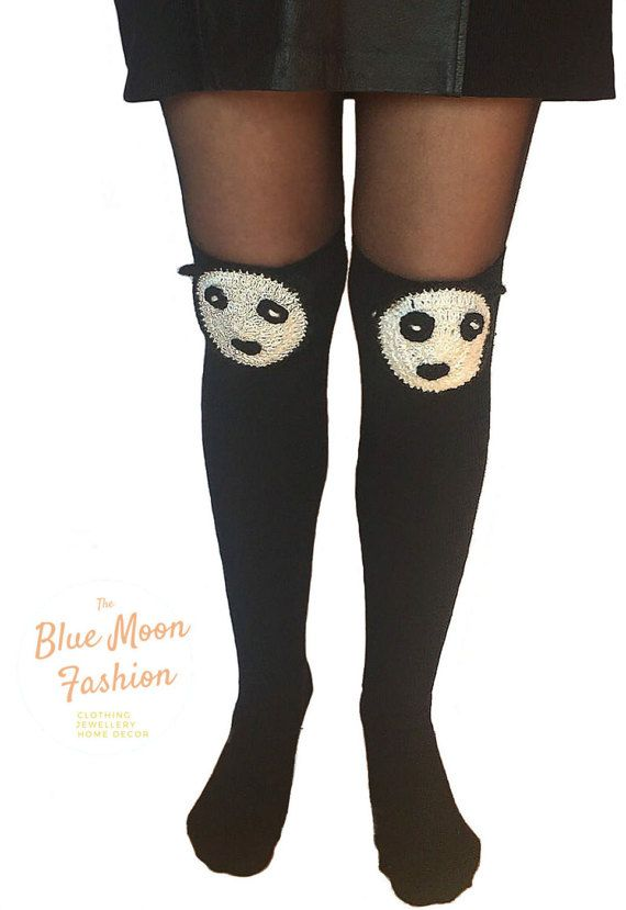 Panda Above the Knee Socks Thick Winter by BlueMoonFashionStore