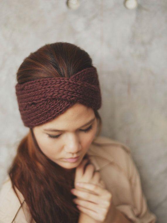 Knit Turban Headband - Dark Brown 100 Percent wool yarn, Head Warmer, Ear Warmer, KT-I-12002-MM