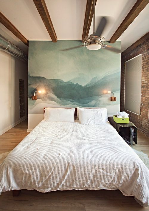 large artwork in place of a headboard
