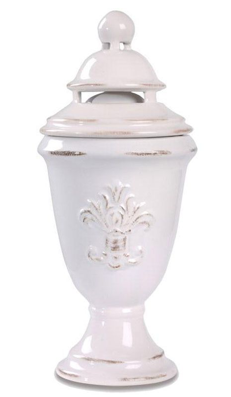 """Greenleaf's Aroma Decor Fragrance Diffusers are classic designs in ceramic.  The Fleur-de-lis' dimensions are 4"""" x 9.25"""" tall.Handmade Fragrance LampRegular Size Wick IncludedSnuffer Cap IncludedCeramic Decorative Cover IncludedFunnel Included FREE Courtneys Brand 16oz Bottle Lampe Oil .... SELECT YOUR FREE 16 OZ FRAGRANCE OIL in the Pull Down Menu: SCROLL DOWN FOR SCENT DESCRIPTIONS"""