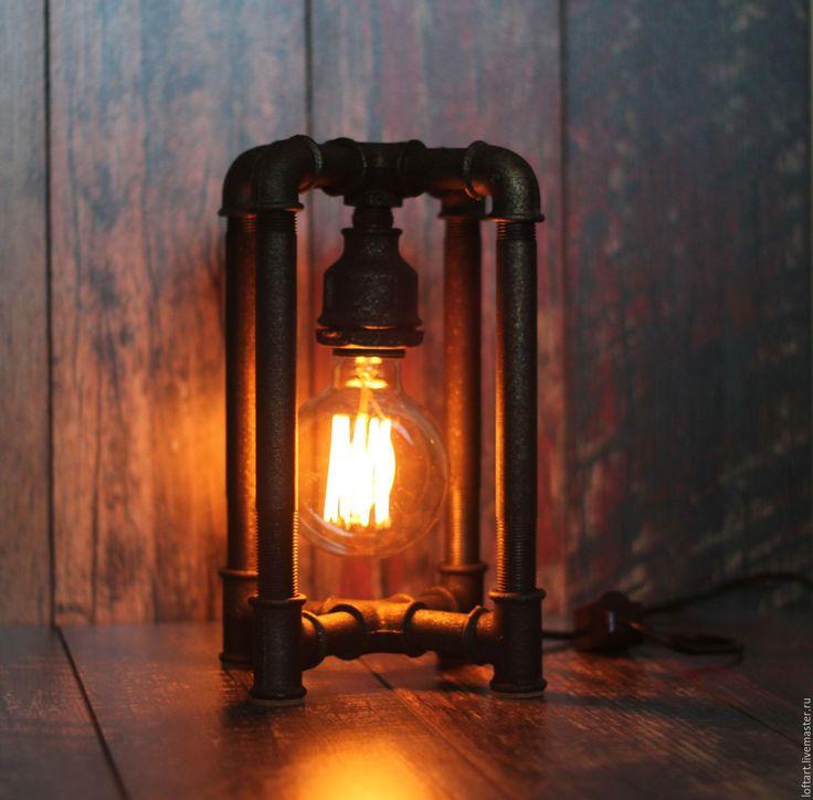 Купить Брутальный светильник в стиле Loft - черный, брутальный подарок, водопроводные трубы, лампа эдисона