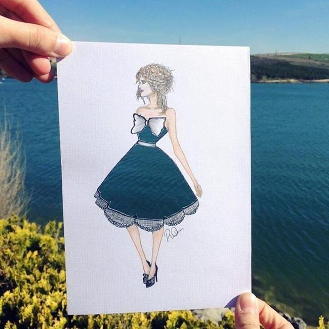 Türk Sanatçıdan Kadın Elbise Çizimlerini Doğa ile Birleştiren Moda İllüstrasyonları Sanatlı Bi Blog 1