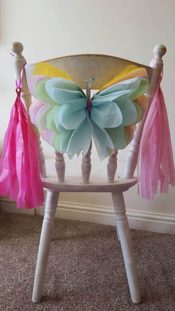 2 x partito sedia decorazioni 14 pollici farfalla sedia legami