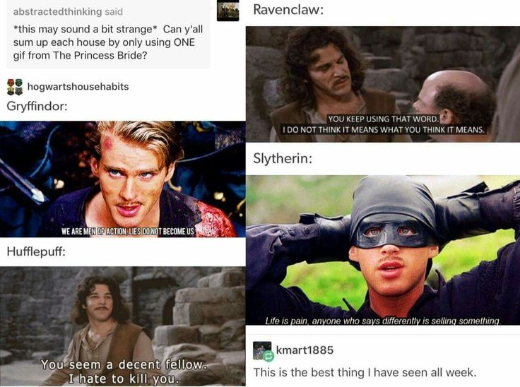 Princess Bride quotes used to describe Harry Potter houses
