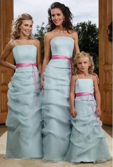 Cyan Bridesmaid Dress w/Pink Belt Sash