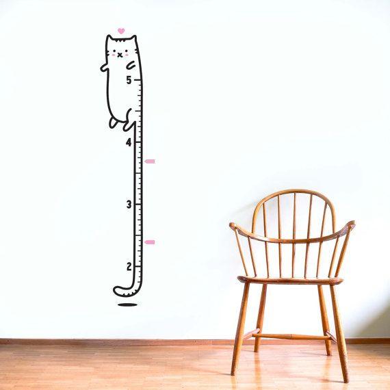 Groei grafiek decal inch: lange kat / Sticker door MadeofSundays