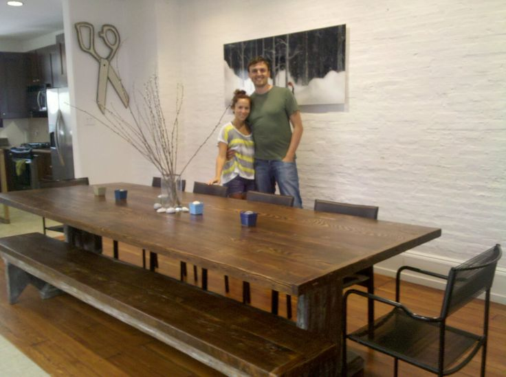 10u0027 Long Trestle Dining Table With Bench, Made From Wood Salvaged At  Revolution Recovery