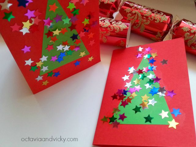 """Super simple Christmas tree cards from Octavia and Vicky ("""",)"""