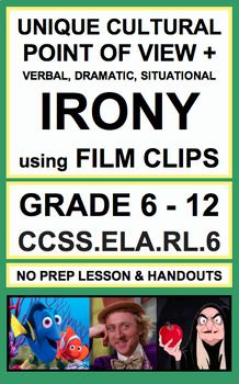 Use short film clips to analyze verbal, situational and dramatic irony, sarcasm, satire and unique cultural point of view in secondary reading literature. Introduce, Practice & Assess: CCSS.ELA.RL.6 (GRADE 8 - 12)