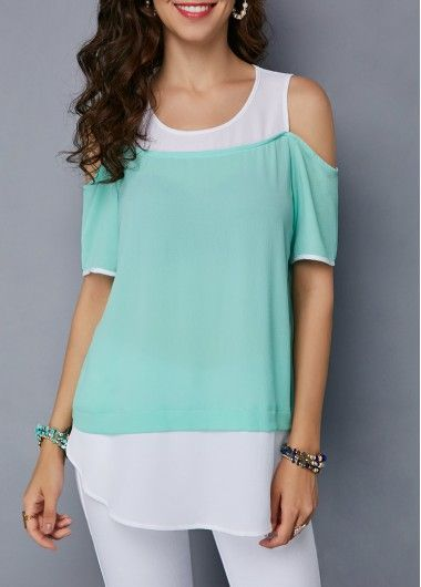 dbfd72a2d9eb6e Curved Mint Green Cold Shoulder Blouse | Trendy Fashion Style | Cold ...