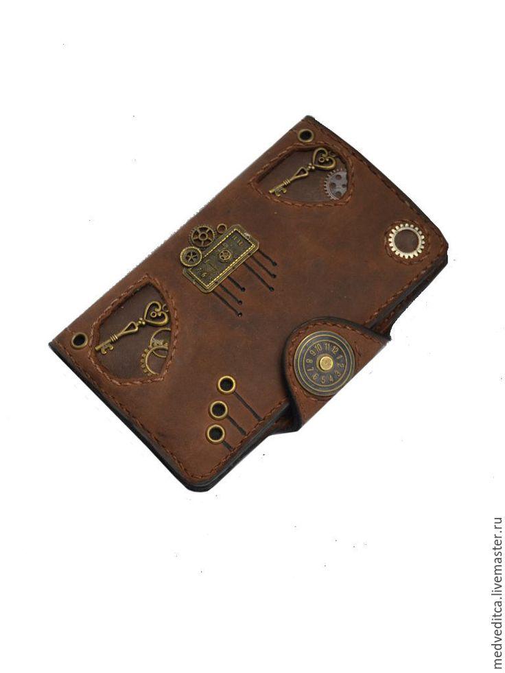 """Купить Мужской кошелек """" Стимпанк"""" - коричневый, портмоне, портмоне из кожи, портмоне ручной работы"""