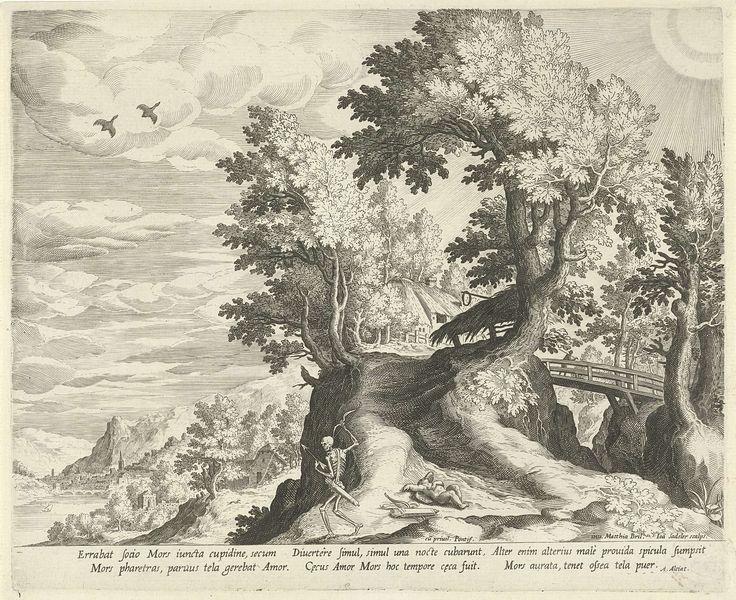 Johann Sadeler (I) | Landschap met het embleem over de Dood en Cupido, Johann Sadeler (I), Andrea Alciati, Clemens VIII, 1595 - 1600 | Heuvelachtig landschap met een brug. Op de voorgrond de personificatie van de dood, met in zijn handen een pijl en boog. Naast hem ligt Cupido op de grond. Dit is de verbeelding van een embleem, waarbij het moraal van het verhaal de wispelturigheid van de dood vergelijkt met die van de liefde. De prent heeft een Latijns onderschrift met het bijschrift van het…