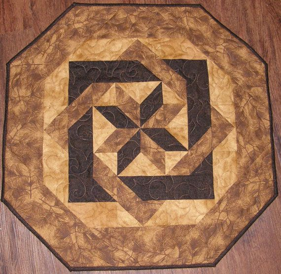 Quilted Table Topper Shades Of Brown Golden Brown Dark