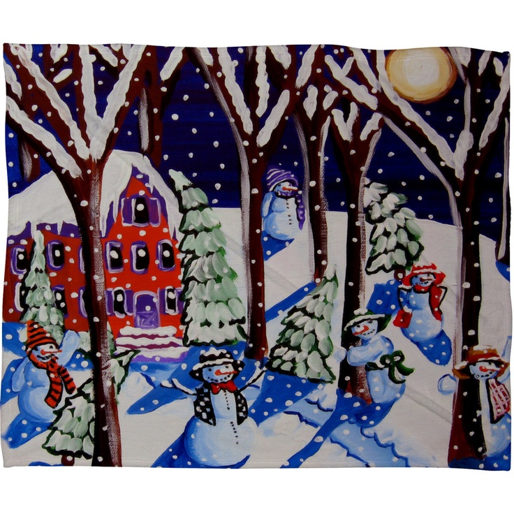 Renie Britenbucher Magic Snowmen Fleece Throw Blanket
