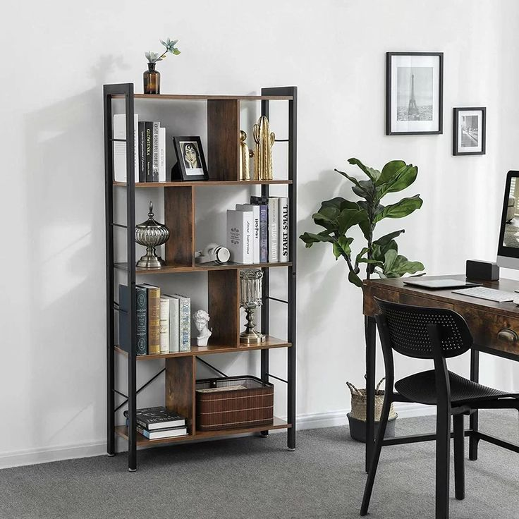 Hasting Etagere Bookcase In 2020 Living Room Office Industrial Bookshelf Bookcase